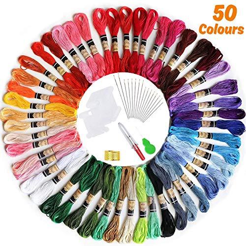 [50Madejas] Hilos de Bordado, elloLife Bordado Kit con 12 Tablero Blanco de la Bobina para Organizar Hilos Punto Cruz Hacer Pulsera de la Amistad Punto de Manualidades Costura, Colores Arco Iris