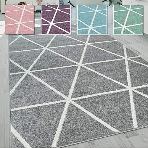 Paco Home Wohnzimmer Teppich, Moderne Pastell Farben, Skandinavischer Stil, Rauten Muster, Grösse:60x100 cm, Farbe:Grau