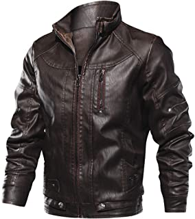 CRYSULLY Men's Fall Winter Faux Leather Jacket Vintage Stand Collar Thin Pu Leather Biker Jackets