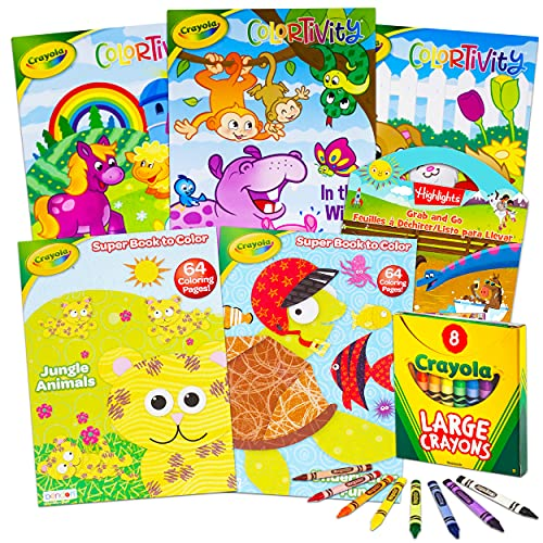 Crayola Coloring Books for Kids Toddlers Crayola Learning Set Bundle - 13 Pc Crayola Animal Coloring Activity Books with Crayola Learning Crayons Jumbo and Crayola Stickers (Crayola School Supplies)