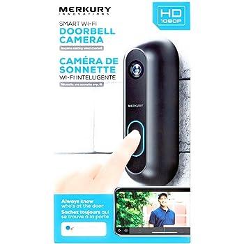 Merkury Innovations Smart Wi-Fi Doorbell 1080p Black