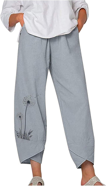 Fashion Trousers Women's Cotton Linen Dandelion Print Solid Color Pants