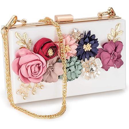 Faux Leather Floral Decoration Hard Compact Bridal Prom Clutch Bag Purse