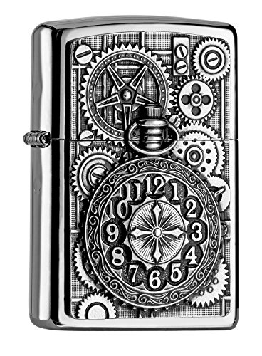 Zippo Zippo Sturmfeuerzeug 2004742 POCKET WATCH AND GEAR WHEELS EMBLEM Silber