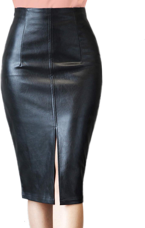 RAMISU Faux Leather Pencil Skirt High Waist Split Lady's Half Body Midi Hip Skirt