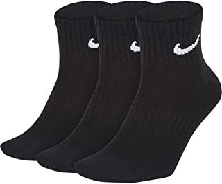 Nike Unisex Everyday Lightweight Ankle 3 Pair Socks, Black (Black/White), Large