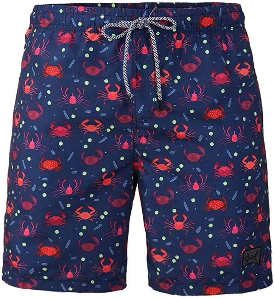 TWain Men's Swim Shorts Quick Dry Swim Trunks Funny Printed Board Shorts with Mesh Lined for Home Stay Blue