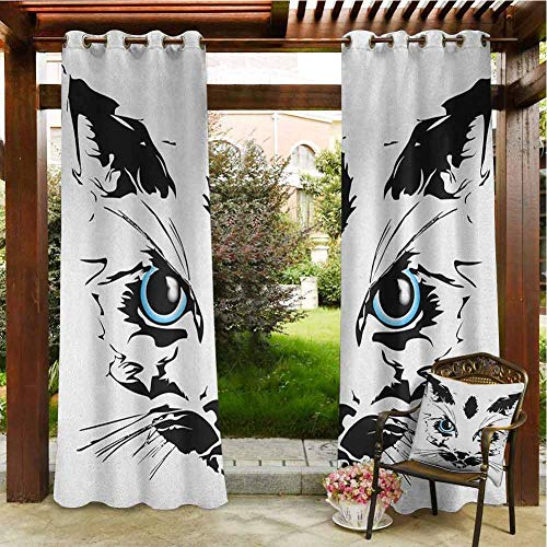 Animal Outdoor Privacy Curtain for Pergola Big Cat Face Pet Cute with Whiskers witn Dark Shadow Hand Drawn Image Porch Grommet Printed Curtains 108x108 INCH,Black White and Sky Blue