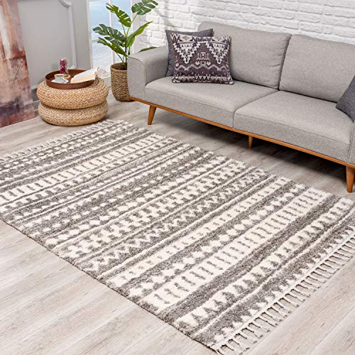Teppich Hochflor Wohnzimmer - Ethno-Design 80x300 cm Grau Creme - Teppich-Läufer mit Fransen