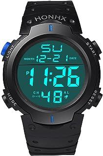 HONHX Electronic Watch 9001-1 Fashion Waterproof Men's Boy LCD Digital Stopwatch Date Rubber Sport Wrist Watch,Black