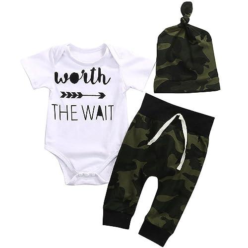 156d7d6778ba8 Cute 3pcs Newborn Baby Boys' Letter Print Romper+Camouflage Pants+Hat  Outfits Set