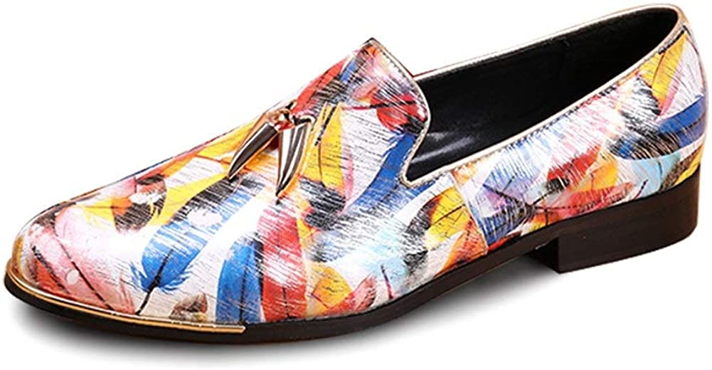 Rui Landed Oxford for Men Formal Shoes Slip On Style Premium Genuine Leather Loafer Colorful Embossed Low Top Round Toe Flats Block Heel
