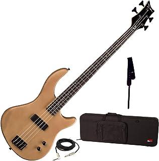 $259 » Dean Edge 09 Satin Natural Bass Guitar, Black Leather Strap, and Rigid Case