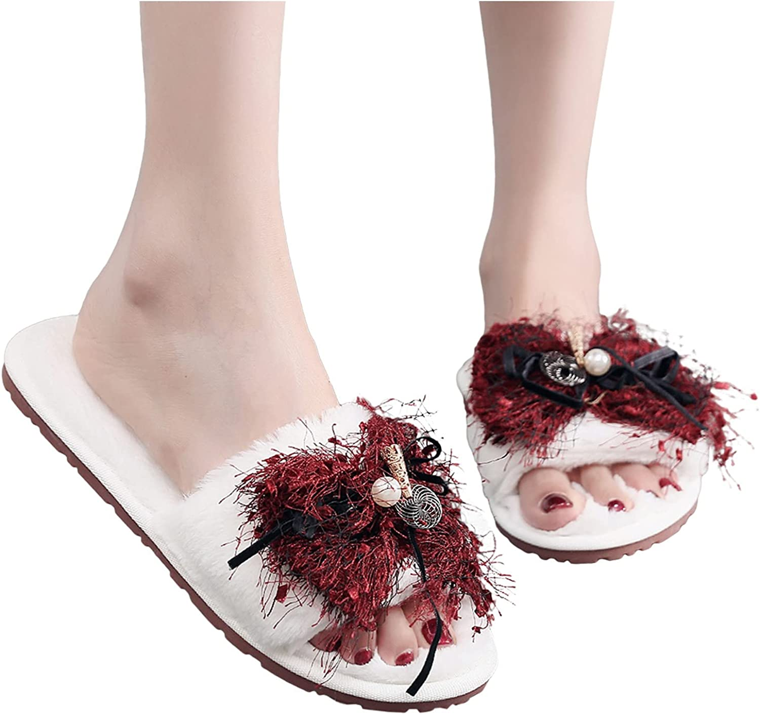 Max 56% OFF Hunauoo Slippers for Women trend rank Plush Home Warm Bow