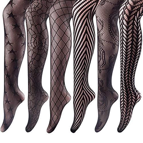 FEPITO de medias de red medias altas medias de malla pantimedias para mujeres, negro