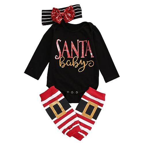 faa3e1572 MA&Baby 3pcs Baby Girl Boy Cute Long Sleeve Romper Leg Warmers Hairband  Outfits Christmas Sets
