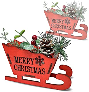 BANBERRY DESIGNS Merry Christmas Red Sleigh Decoration - Set of 2 Holiday Centerpiece with Pinecones, Berries and Greenery