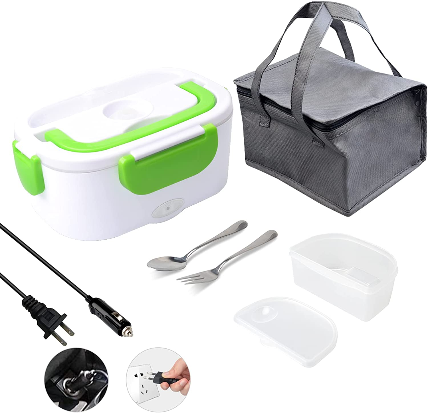 Electric Lunch Box 2 in 1,Portable Food Warmer Heating,Removable 304 Food-Grade Stainless Steel 1.5L,For Car,Truck, Work, Home 12V&110V 40W, Include Insulated Lunch Bag(Green)