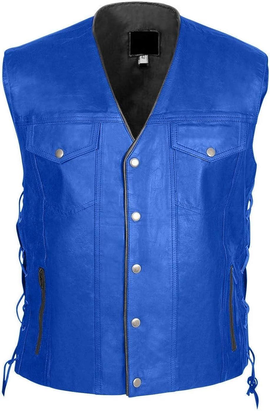 Men's Genuine Cowhide Blue Leather Vest