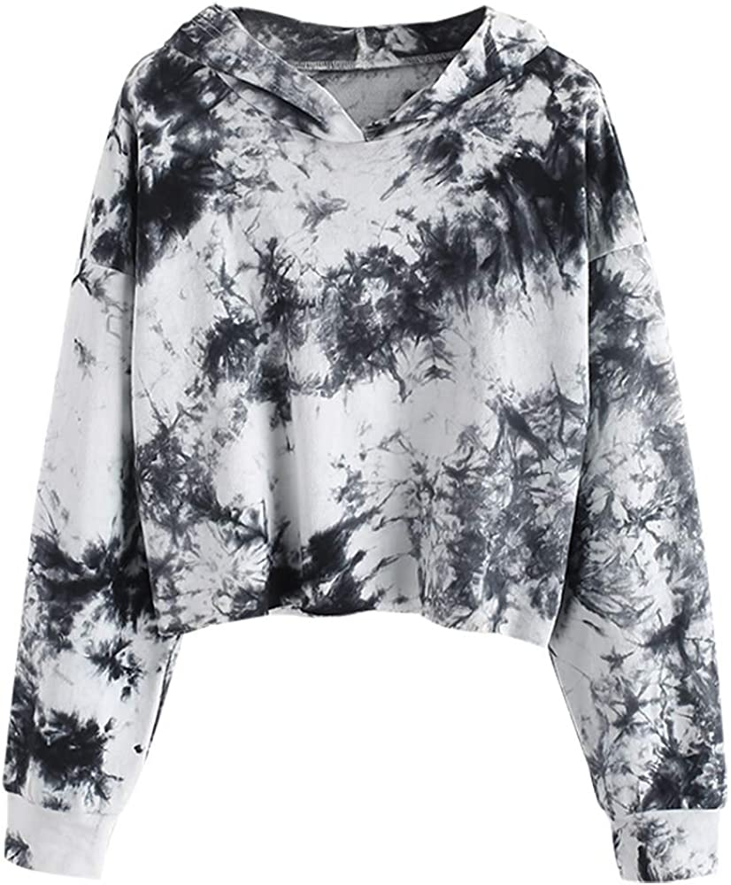 ZAFUL Women's Long Sleeve Crop Top Tie Dye Pullover Hoodie Hooded Sweatshirt