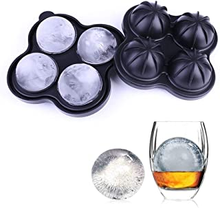 RANSHUO Big Ice Hockey Silicone Mold Ice Box, Ice Cube Trays and a Sphere Ice Maker with Lid for Cocktails & Bourbon - Reusable & BPA Free