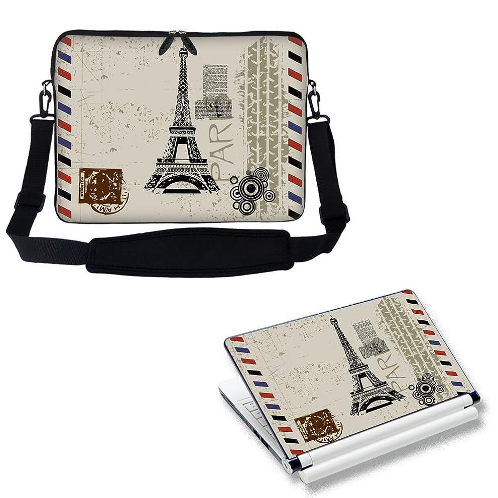 Meffort Inc 15 15.6 inch Laptop Carrying Sleeve Bag with Adjustable Shoulder Strap & Matching Skin Sticker Deal - Paris Design