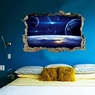 3D Star Universe Series Broken Wall Stickers for Kids Baby Rooms Bedroom Home Decoration Decals Mural Poster Sticker on Th...