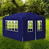 Furnituredeals Cenador con Cortina Carpa de Fiesta 3x4 4 Paredes Azul Carpas Plegables