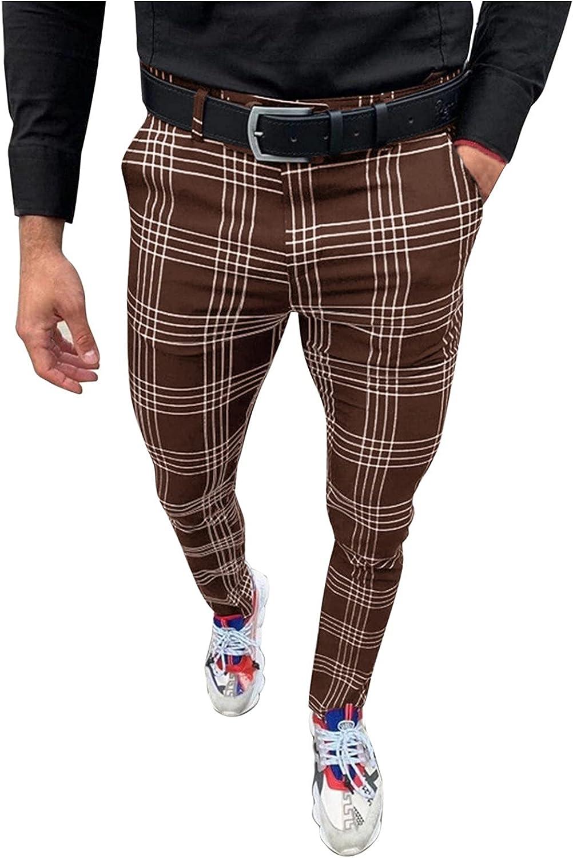 Mens Stretch Skinny Slim Fit Flat-Front Skinny Dress Pants Plaid,Men Dress Pants Plaid Casual Business Pants