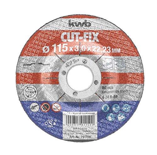 kwb Trennscheibe Cut-Fix 791250 (125 x 22, gekröpft, 3.0 mm dick, für Metall und Stahl, für Winkelschleifer)