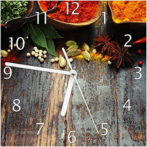 Wallario Glas-Uhr Echtglas Wanduhr Motivuhr; in Premium-Qualität; Größe: 20x20cm; Motiv: Gewürze auf Holz - uriger Holztisch in der Küche