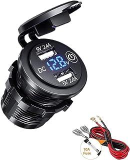 Thlevel Dual USB Ladebuchse, 12V / 24V Auto Steckdose mit LED Voltmeter & Schalter, wasserdichtes 4.8A Schnellladegerät für Auto, Boot und Marine, Motorrad, LKW, SUV, UTV