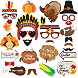 40PCS Thanksgiving Day Photo Booth Props Colorful for Festival Party Supplies, Turkey Creative Thanksgiving Decorations Kit