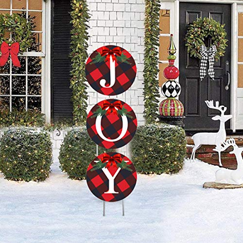 Christmas Decorations Joy Yard Sign - Large Buffalo Check Plaid Wreath Design for Indoor and Outdoor Holiday Decorations, Premium Weatherproof Set