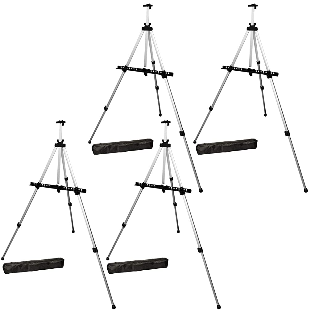 US Art Supply Silver 65inch Tall Lightweight Aluminum Field Floor Table Easel with Bag (4-Easels)