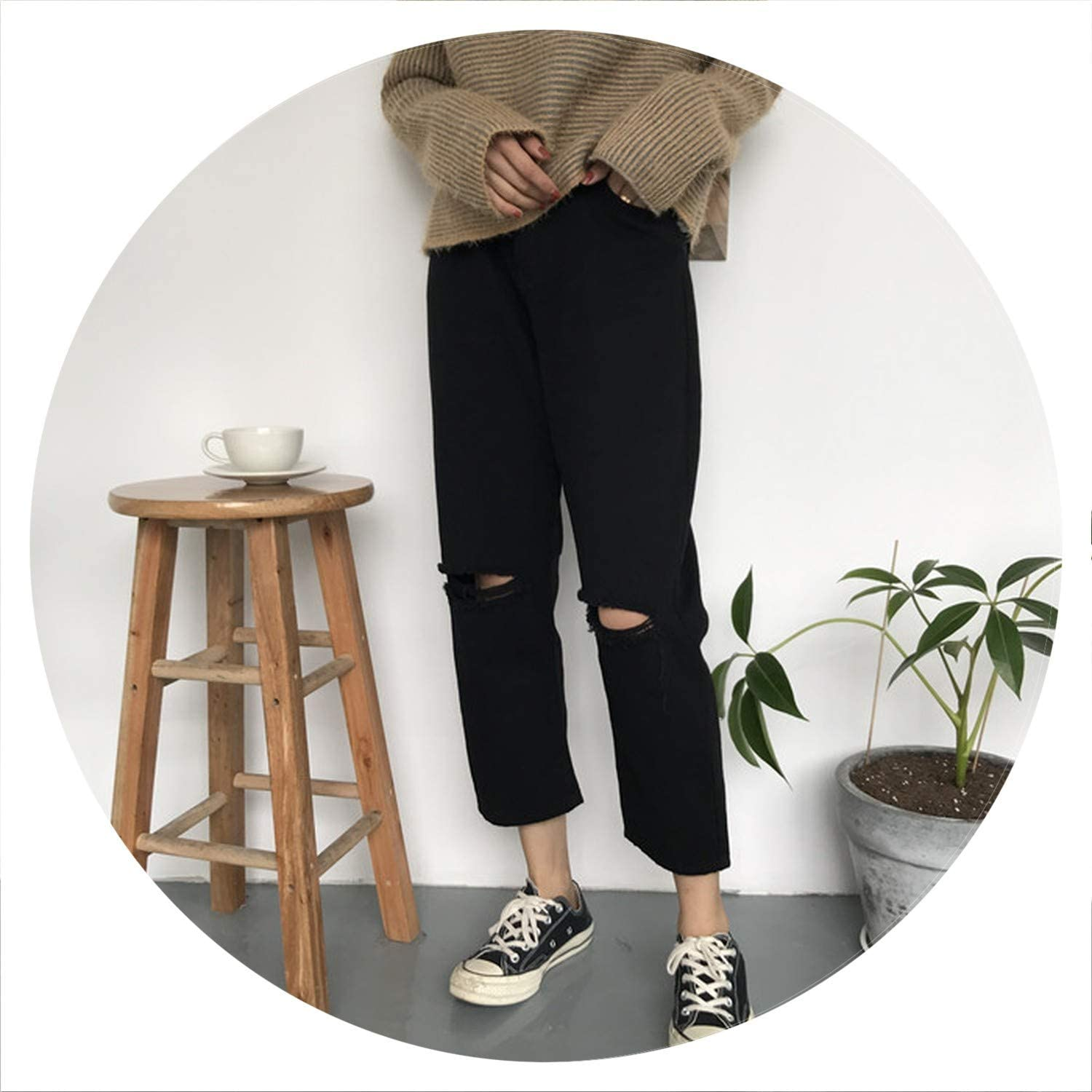 AllAboutUs 2019 Summer Style Black White Hole Ripped Jeans Women Straight Denim High Waist Pants
