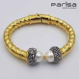 Ottoman Collection - Handmade gold plated bracelet with Zirconia stones embedded around large Pearl.