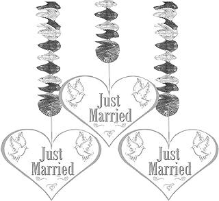 Folat Spiraler 'Just Married' bröllop festdekoration 3 stycken silver-vit-g