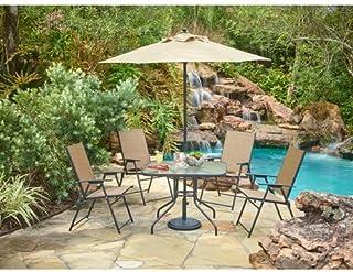 Outdoor 6-Piece Folding Patio Dining Furniture Set with Umbrella, Seats 4