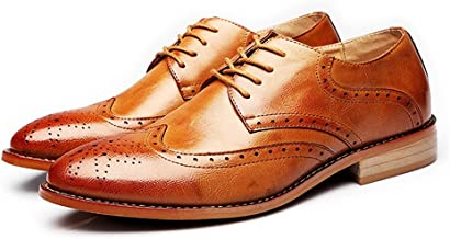 YLY Mens Genuine Leather Brogue Shoes Wingtip Hollow Carving Lace Up Block Heel Business Lined Oxfords Driving Shoes