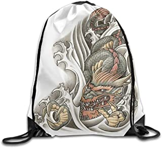 shjsertjs Handsome Dragon Tattoo Gym Eco-Friendly Luggage Drawstring Backpack Unisex Portable Sack Bags