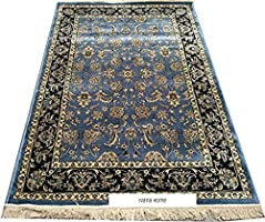 Iyana Home Kashmiri Silk Bed Side Carpet for Bed Room(Gray, Silk, 2 x 6 FT)