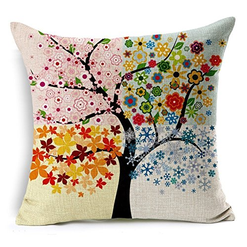 Beautiful Colorful Flower Tree Cotton Linen Square Throw Pillow Covers Cushion Cover 18 x 18 by loQuenn