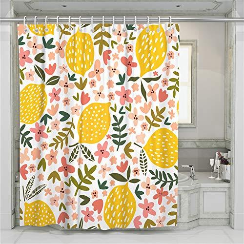 Chickwin Duschvorhang Wasserdicht, Anti-Schimmel Badvorhänge aus Polyester Waschbar mit 12 Duschvorhangringe Dusche in Badezimmer Gardinen- 3D Saure Zitrone Drucken (Pinke Blumen,180x180cm)