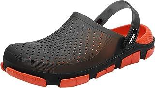 Mens Mules Slippers Hole Sandals Patchwork Beach Clogs Open Back Anti-Slip Sliders Slip-On Swimming Sandals Summer Men Sof...