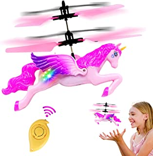 CTRL-ZS Flying Unicorn Toys Led Flying Fairy for Girls Induction Remote Control Flying Ball RC Controlled Horse Helicopter for Kids Boys
