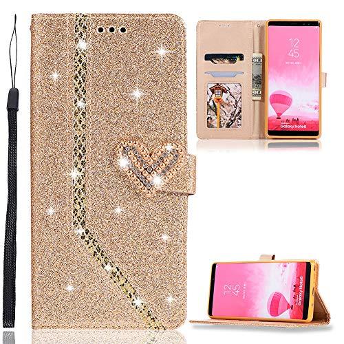 ZCXG Glitzer Handyhülle für Samsung Galaxy Note 8 Hülle Leder Gold Glitzer Flip Dünn Tasche mit Diamant Schnalle Magnet Kartenfach Brieftasche Mädchen Hülle Silikon Schwarz Innere Klappbar