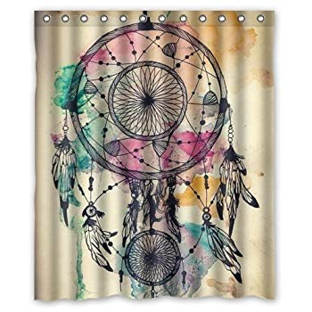 Colorful Dream Catcher Retro Vintage Native American Style Feathers Waterproof Polyester Fabric Bathroom Shower Curtain 60  x 72  Sold By Moslion