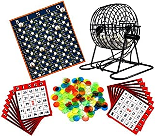 Regal Games Metal 8-Inch Bingo Cage Game with White Bingo Balls, Bingo Chips, and 17 Bingo Cards
