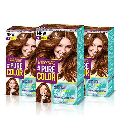 Schwarzkopf Pure Color Permanent Gel Coloration Nr. 7.57 Toffee Zusatz (3er Pack)